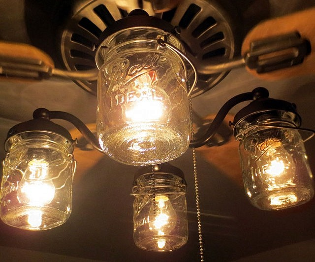 Mason Jar Ceiling Fan Light