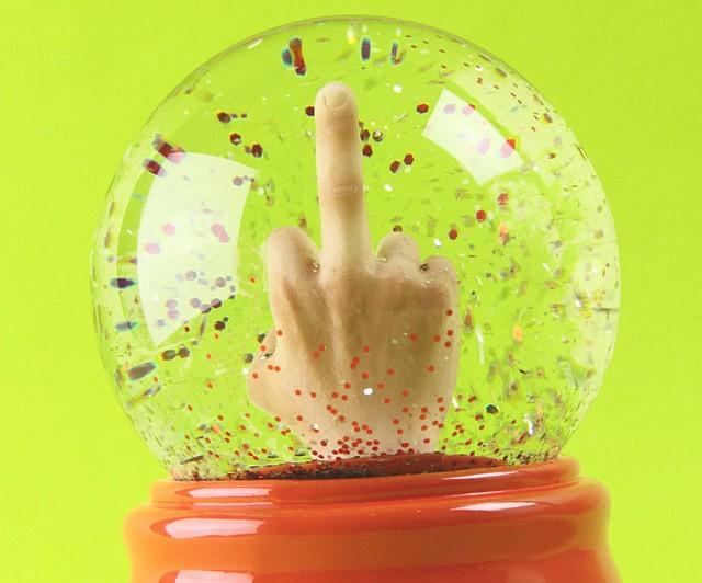 Middle Finger Snowglobe