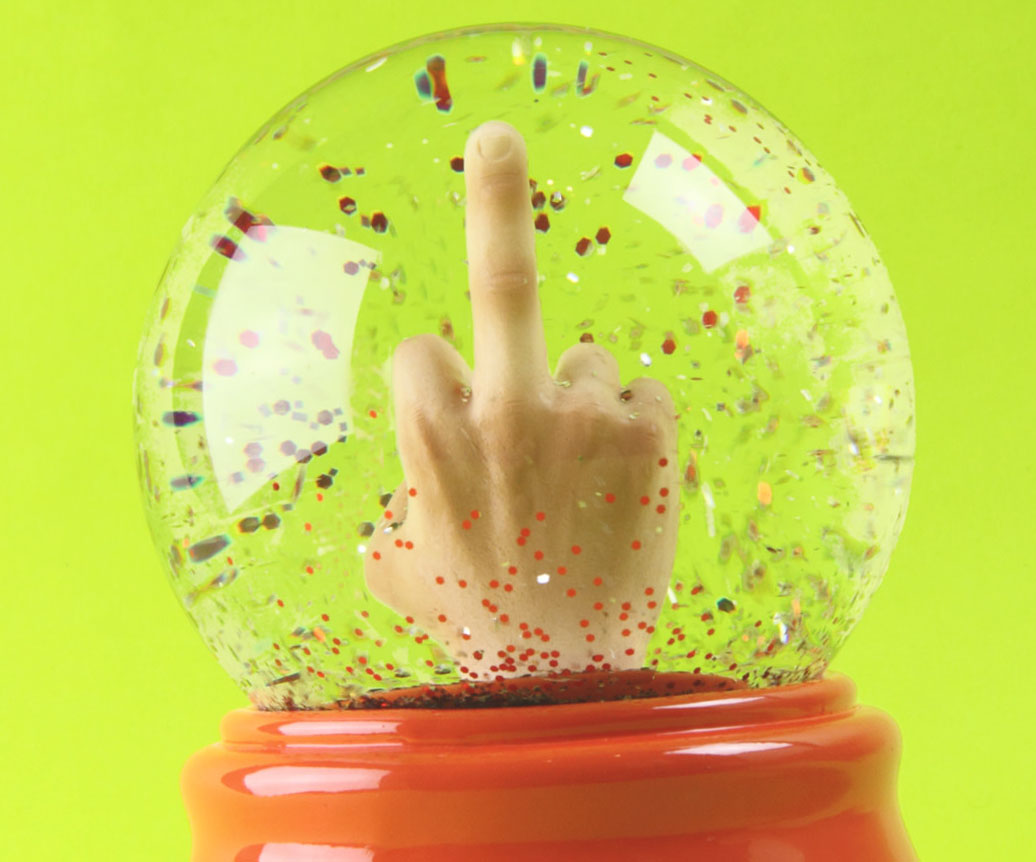 Middle Finger Snowglobe