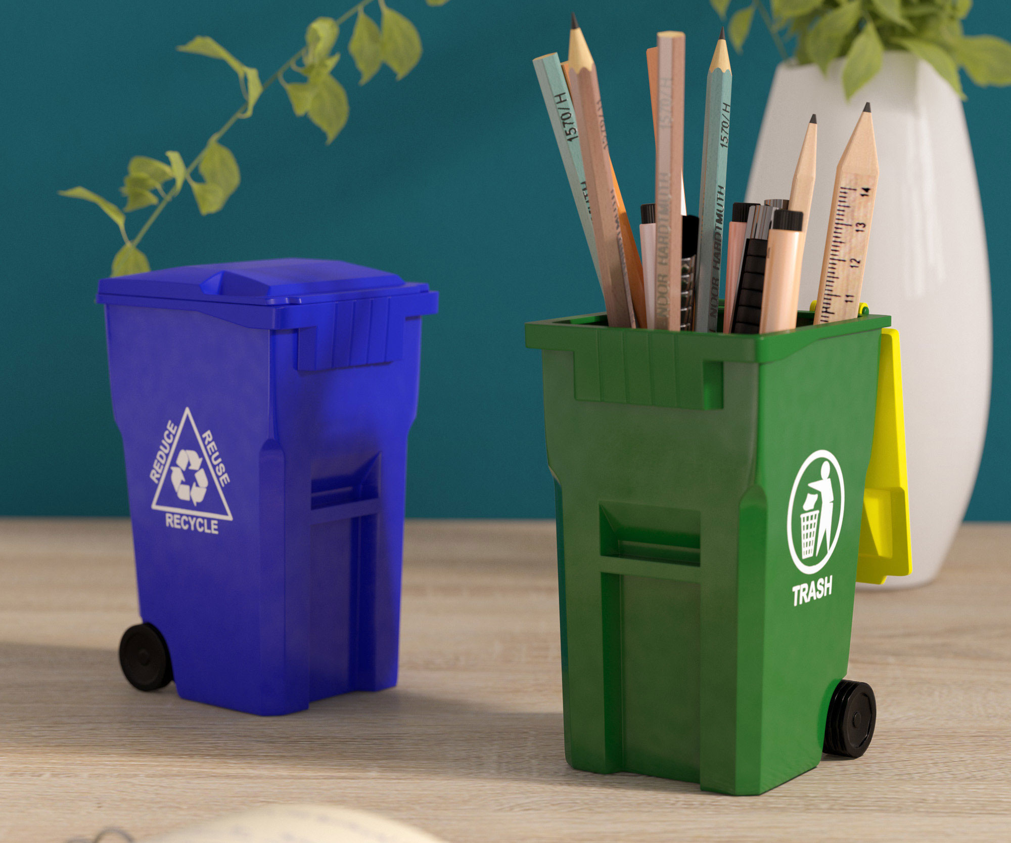 Mini Trash & Recycle Bin Pencil Holders