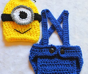 Crocheted Baby Minion Costume