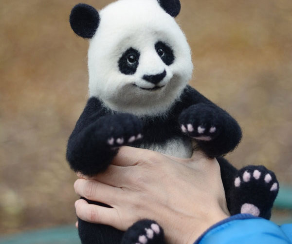 747b25aac84 Needle Felted Panda Bear Doll