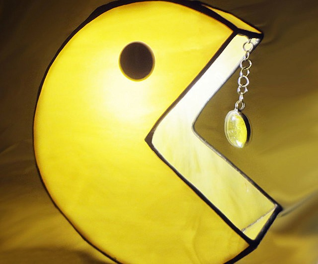 Pac Man Stained Glass Lamp