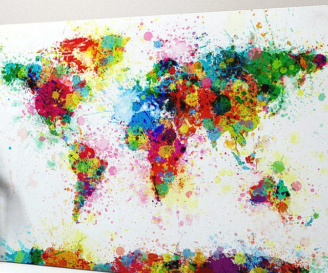 Paint Splatter Map Of The World