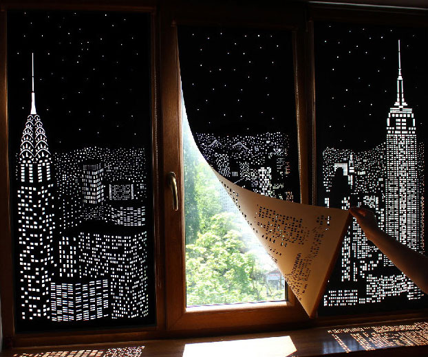 Perforated Cityscape Blinds
