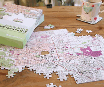 personalized hometown map puzzle