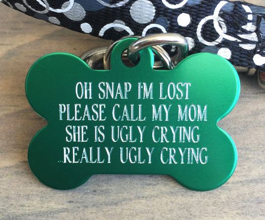 Engraved Pet ID Tag Round I Luv Google Tag For Geeks