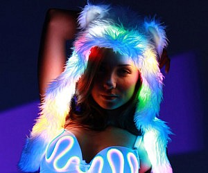 Rainbow Light Up Bear Hood