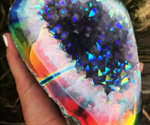 rainbow quartz geode