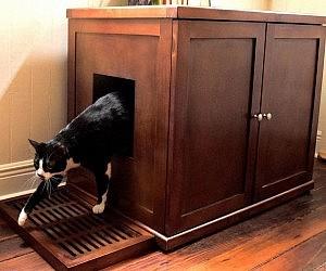 Lovely Refined Wood Litter Box Cabinet