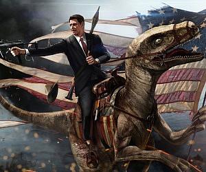 Ronald Reagan Velociraptor Painting