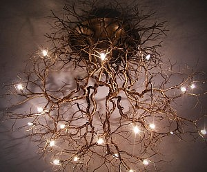 Tree roots ceiling lamp aloadofball