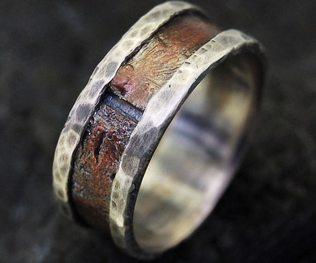 shop ring wedding s anniversary mens wanelo men rustic silver copper rings on unique band engagement