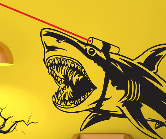 shark with frickin lasers decal