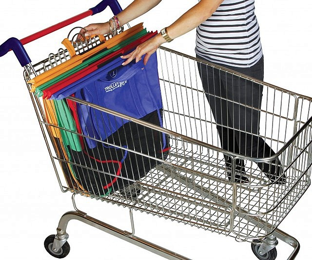 Fold-Out Shopping Cart Bags