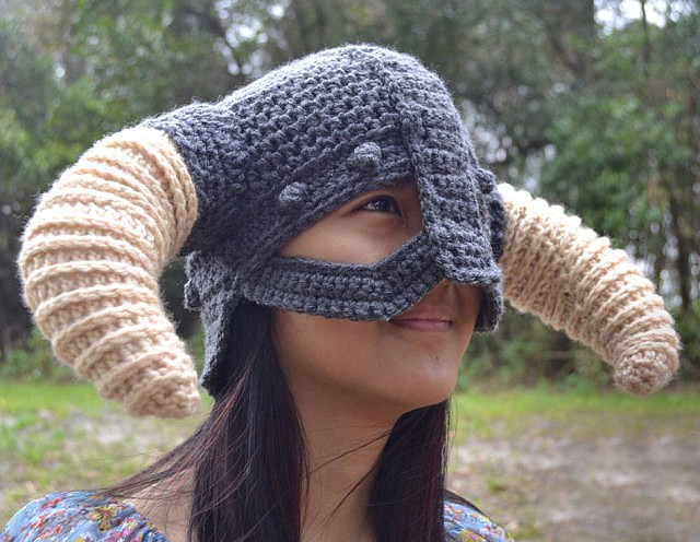 Crochet Pattern Viking Hat : Crochet Skyrim Viking Helmet