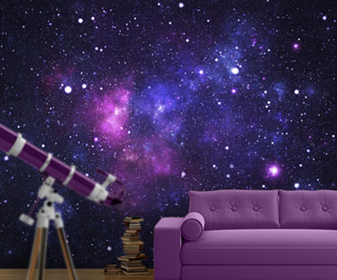 space galaxy wall mural