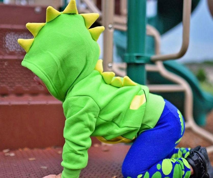 Spiked Dinosaur Baby Hoodie - coolthings.us