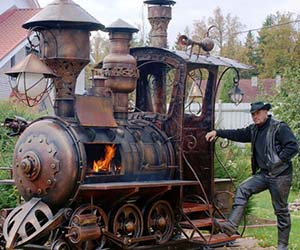 Steampunk Train Barbecue Grill