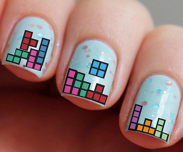 Tetris Water Nail Decals