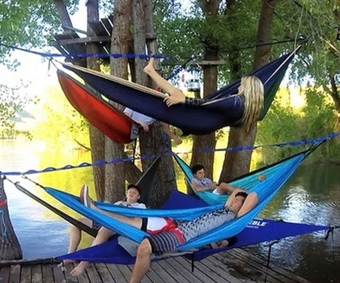 and stand tri to wooden diy hammock home pod portable outdoor triple this hammocks build roofed summer