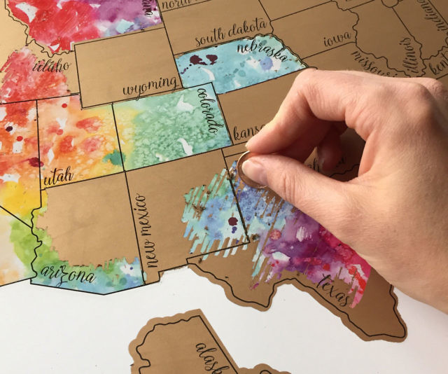 States Scratch Off Map - Scratch off us states maps for class with pencil