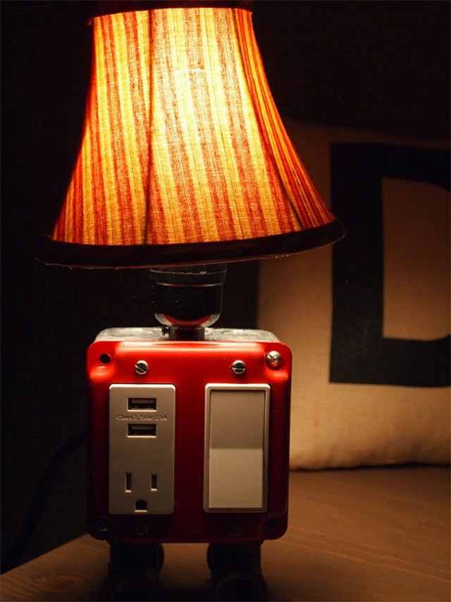 usb charger outlet lamp. Black Bedroom Furniture Sets. Home Design Ideas