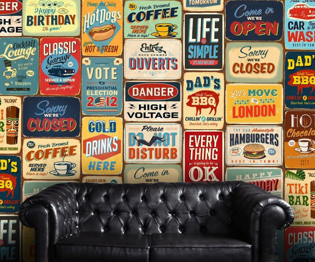 Vintage metallic signs wall decal gumiabroncs Image collections