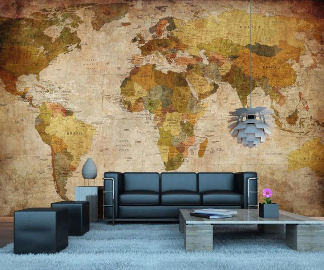 Amazing Vintage World Map Wall Mural