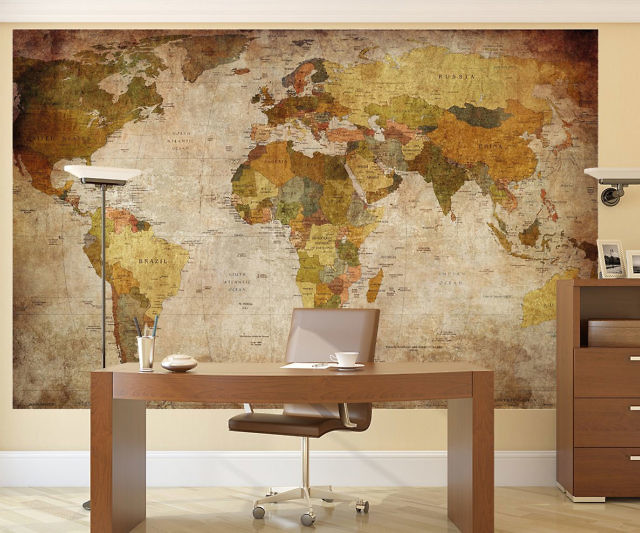 Spectacular Vintage World Map Wall Mural