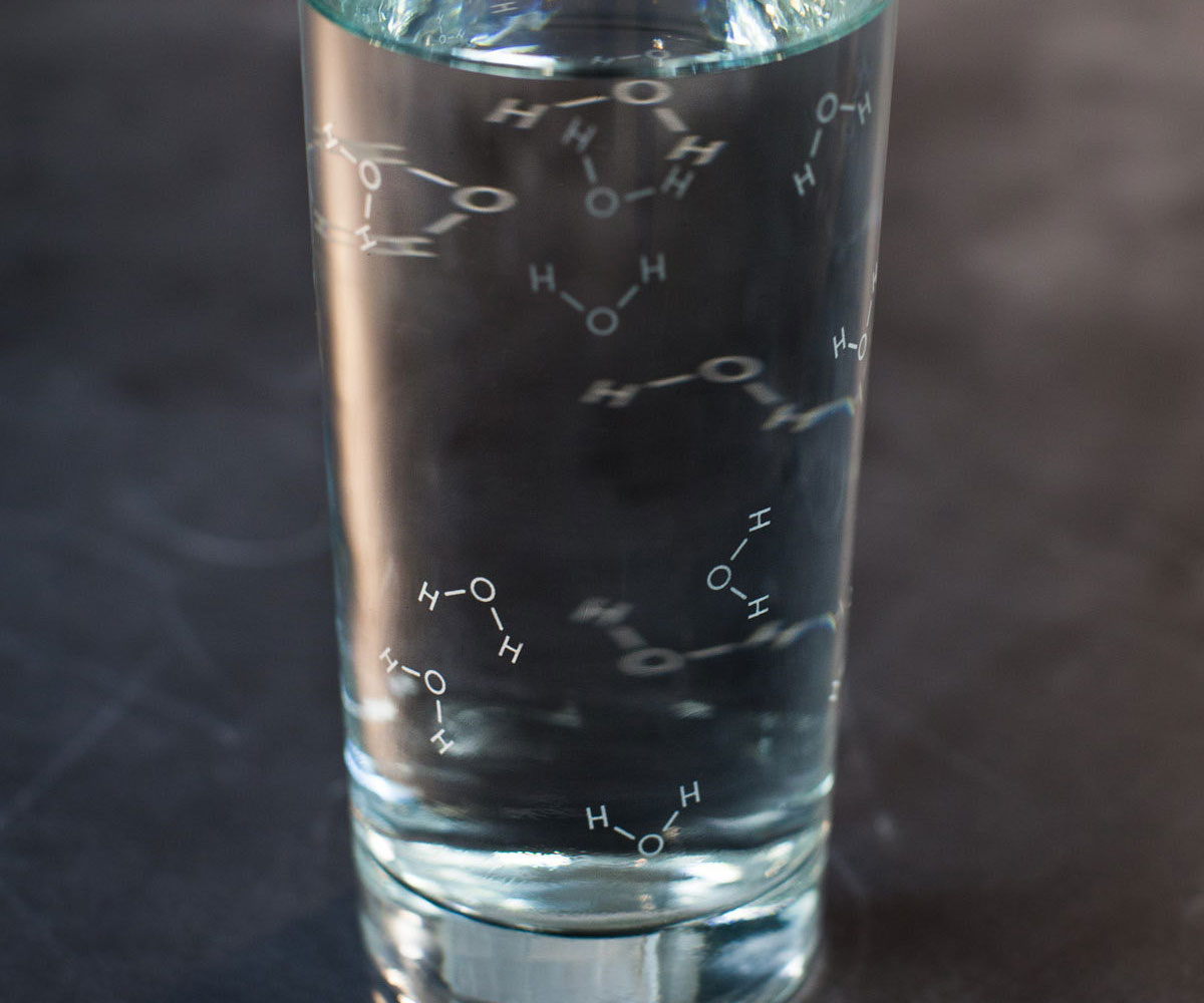 Water Molecules Drinking Glass