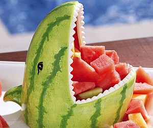 Make A Shark Fruit Bowl From Watermelon Food Beverage Birthdays And