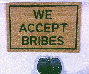 We Accept Bribes Doormat