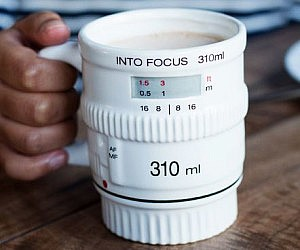 White Camera Lens Coffee Mug