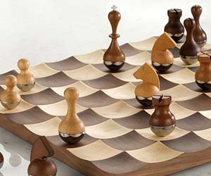 Wobble Chess Set & Glass Chess Board