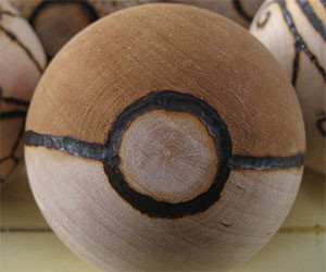 Wood Burned Pokeballs