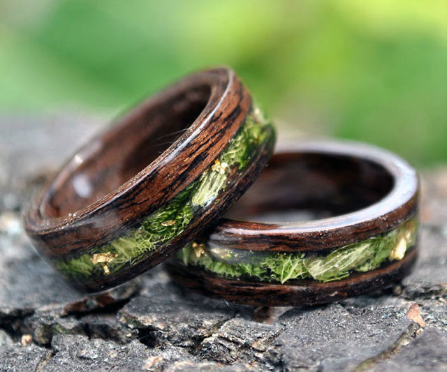 anime wood wedding rings