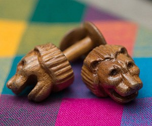Hand Carved Wooden Cufflinks