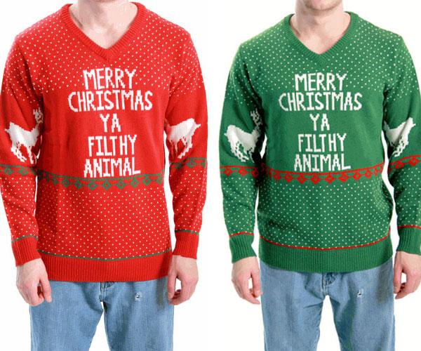 ya filthy animal ugly christmas sweater