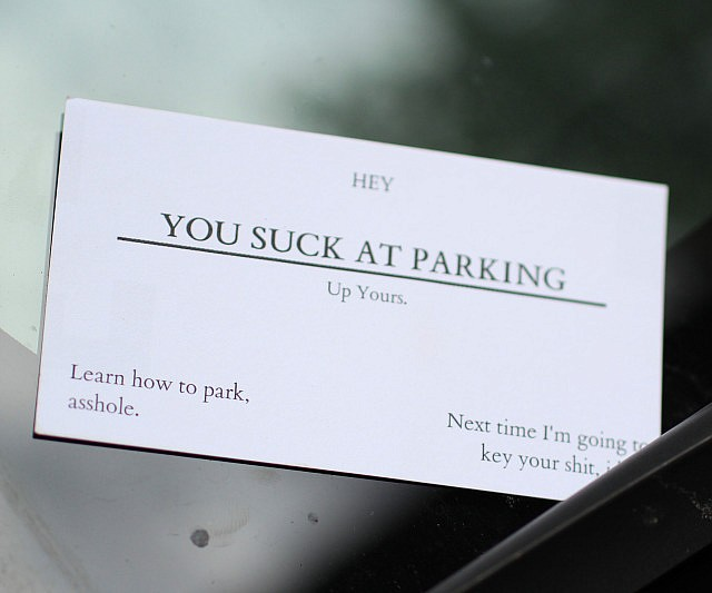 You suck at parking business cards colourmoves