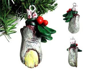 Zombie Toe Christmas Ornament