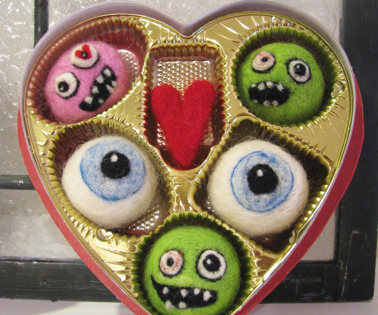 Zombie Valentine's Day Felt Candy